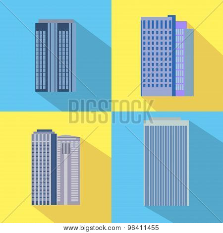 Set Of Colorful Business Buildings Icons