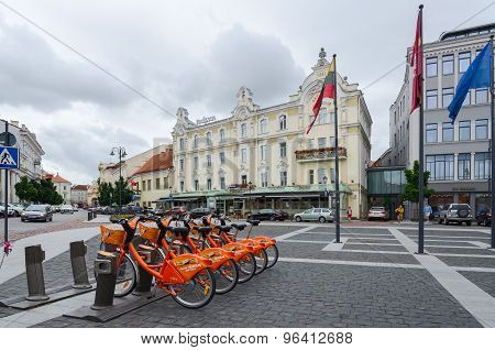 Terminal Of Automatic Bicycle Rental Cyclocity In Vilnius, Lithuania