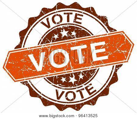 Vote Orange Round Grunge Stamp On White