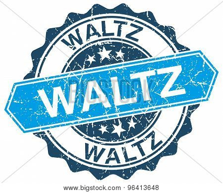 Waltz Blue Round Grunge Stamp On White