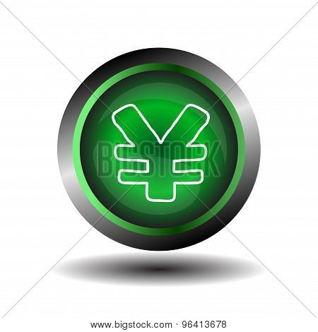 Yen sign internet icon. Yen button  green glossy web icon vector