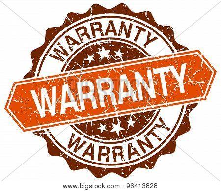 Warranty Orange Round Grunge Stamp On White