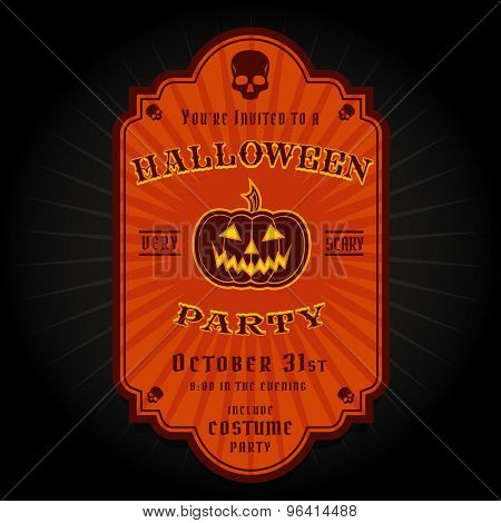 Vintage Retro Halloween Party Invitation Label