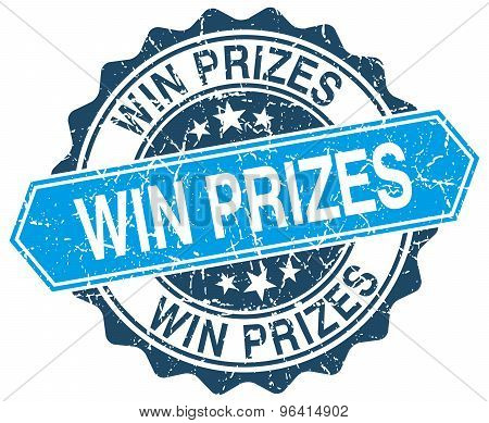 Win Prizes Blue Round Grunge Stamp On White