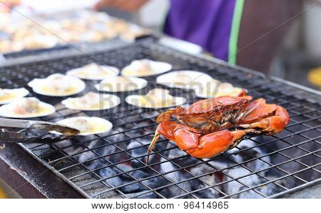 Crab Barbecue Grill Cooking Seafood Background Food Barbecue