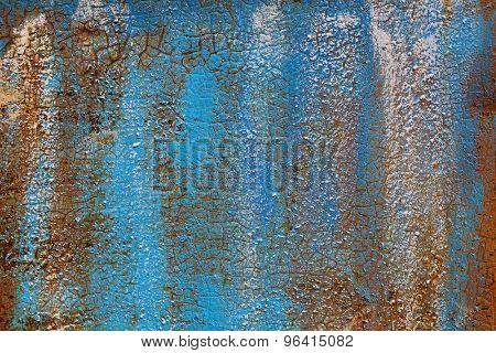 Rusty metal wall colored dye