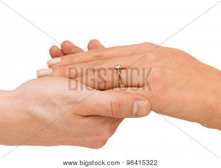 bridal, couple, jewellery, wedding, luxury concept - man puts wedding ring on woman hand