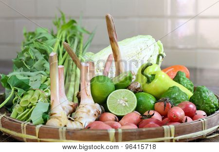 Mix Vegetables And Herb In Basket