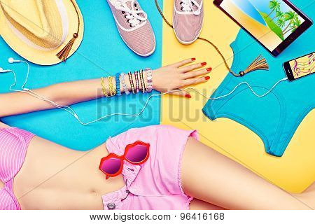 Sexy young woman body.Set stylish trendy clothes.Beach look.