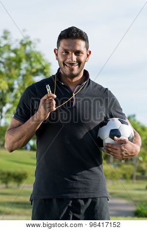 Cheerful Soccer Coach