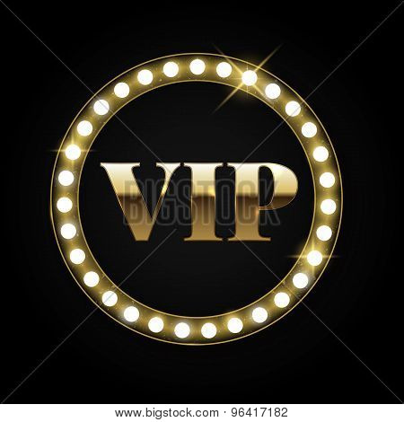 Golden Retro Vip Banner With Lights