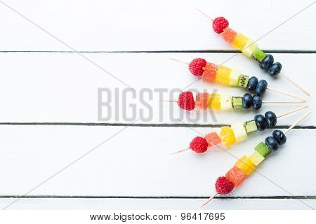 Fresh summer fruits on sticks