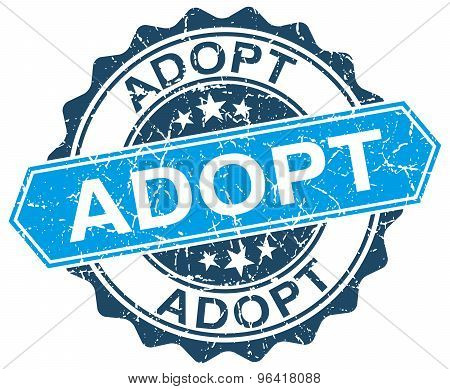 Adopt Blue Round Grunge Stamp On White