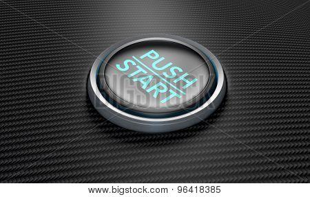 Push To Start Carbon Fibre Button
