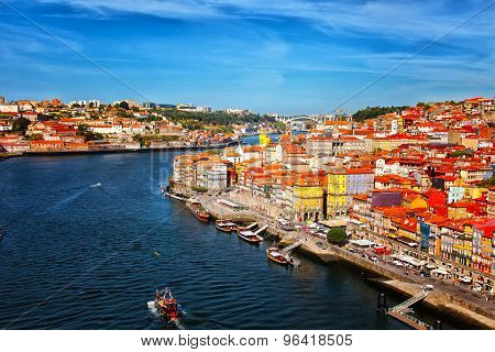 Old Multi-colored Houses On The Embankment In The City Of Porto, Portugal