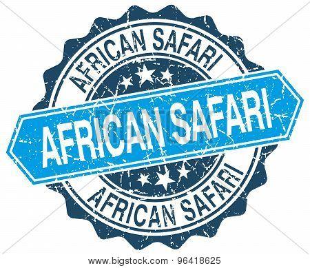African Safari Blue Round Grunge Stamp On White