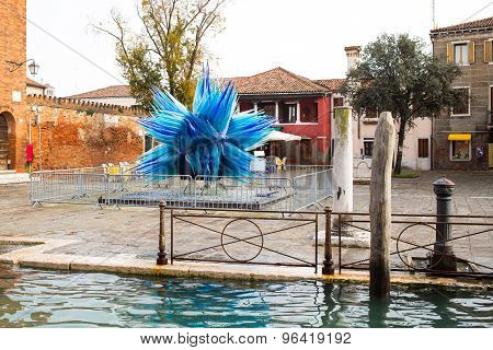 Famous Tower And Glass Sculpture At Murano Island