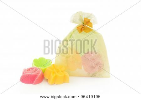 Natural Herb Soaps Isolate On A White Background