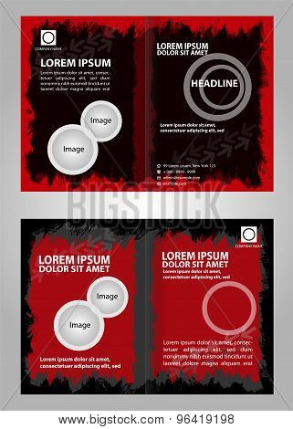 Red black Brochure Template - Red black business card