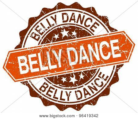 Belly Dance Orange Round Grunge Stamp On White