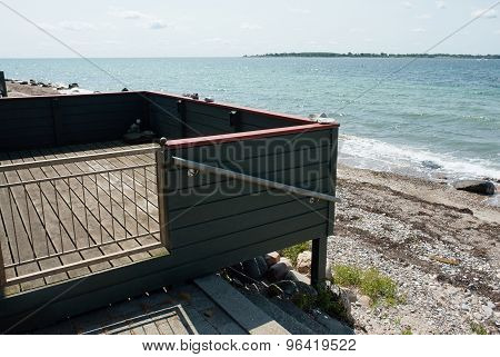 Wooden Balcony Terrace With Great View Of The Sea