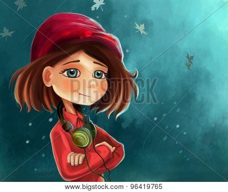 cute cartoon girl poster