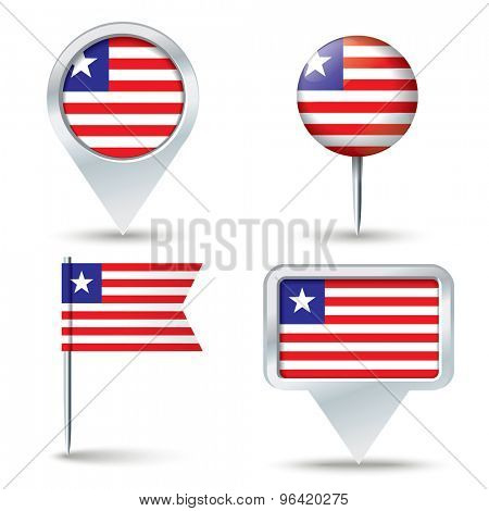 Map pins with flag of Liberia - vector illustration