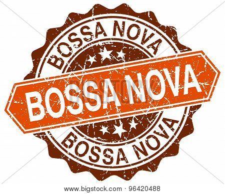 Bossa Nova Orange Round Grunge Stamp On White