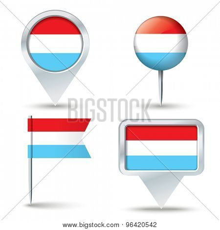 Map pins with flag of Luxembourg - vector illustration