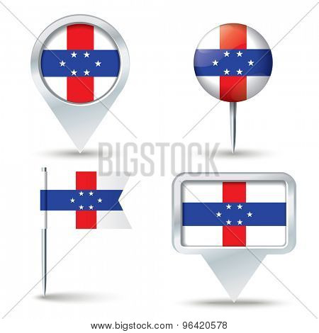 Map pins with flag of Netherlands Antilles - vector illustration