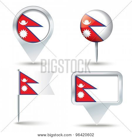 Map pins with flag of Nepal - vector illustration