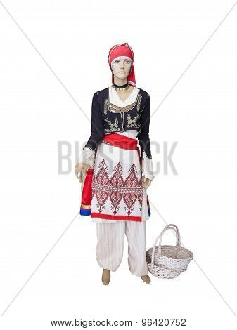 Greek Cretan National Woman Clothes Costume On Mannequin Isolated Over White