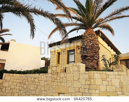 View Of Greek Village On Crete Tropical Minoan Style Architecture