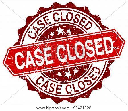 Case Closed Red Round Grunge Stamp On White