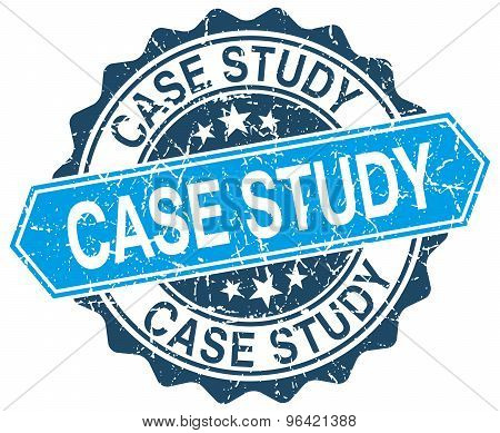 Case Study Blue Round Grunge Stamp On White