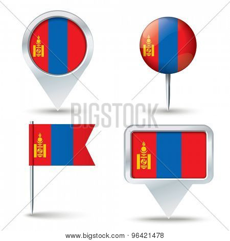 Map pins with flag of Mongolia - vector illustration