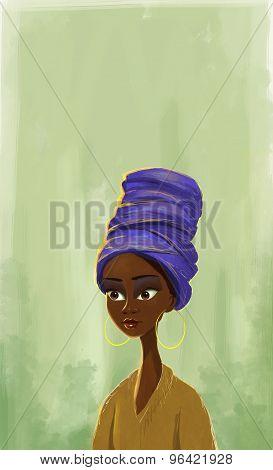 African woman portrait painting