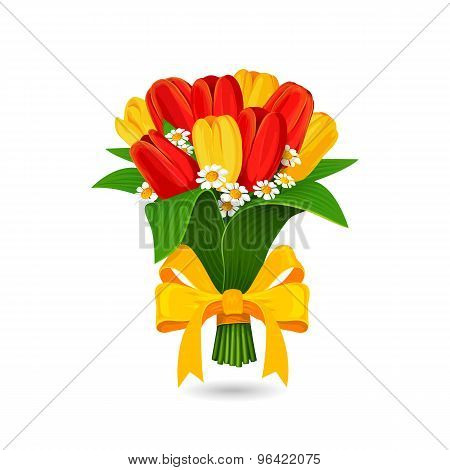 Vector Bouquet Of Red, Yellow Tulip With A Yellow Bow