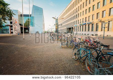 View of Mannerheiminaukio street in HELSINKI, FINLAND. Parked Bi