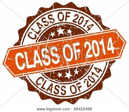 Class Of 2014 Orange Round Grunge Stamp On White