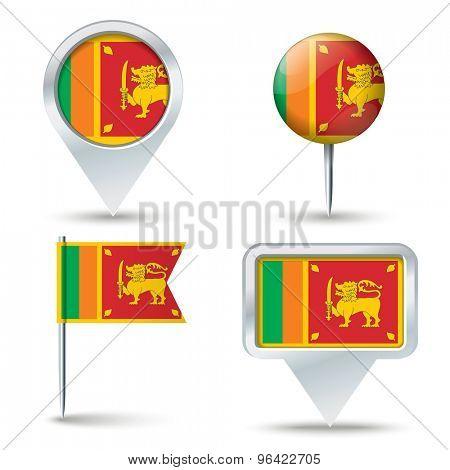 Map pins with flag of Sri Lanka - vector illustration