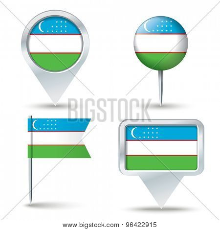 Map pins with flag of Uzbekistan - vector illustration