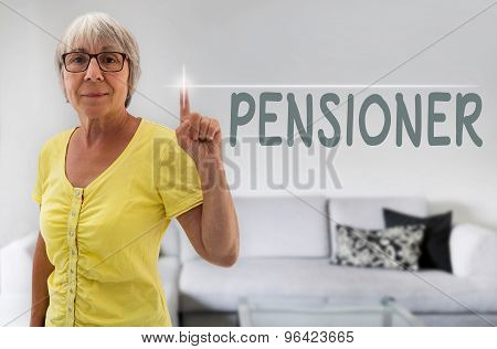 Pensioner Touchscreen Is Shown By Senior