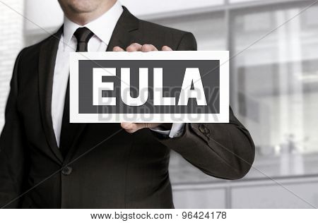 Eula Sign Is Held By Businessman Background