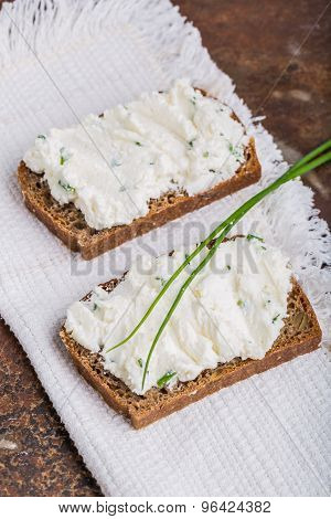 Healthy Breakfast - Homemade Bread With Goat Cheese