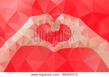Female Hands Making A Heart Shape By Abstract Geometric Triangle In Low Poly Style