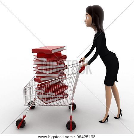 3D Woman With Cart And Books In It Concept