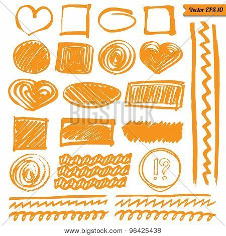 Vector Marker Line Elements Set For Your Design. Hand Drawn Isolated Orange Circle, Square, etc.