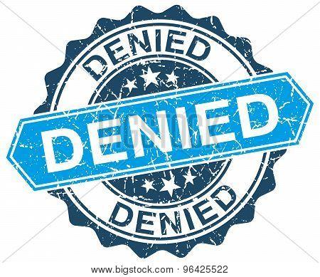 Denied Blue Round Grunge Stamp On White
