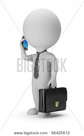 3D Small People - Businessman With Phone